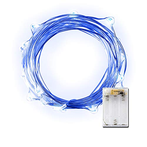 LIDORE Micro LED 20 Blue String Lights with Timer, Battery Operated on 7.87ft Long Silver Color Ultra Thin Copper Wire -