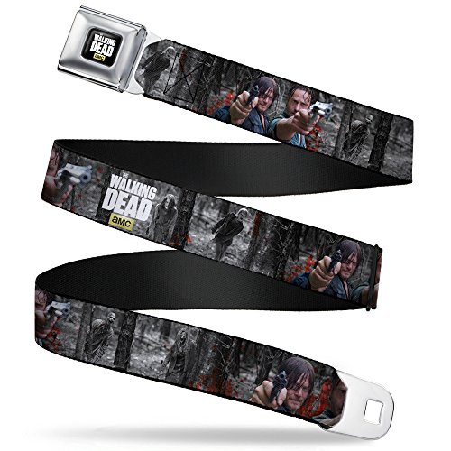 Buckle-Down Seatbelt Belt - THE WALKING DEAD Daryl & Rick Shooting/Zombies in Woods Grays/Full Color - 1.5