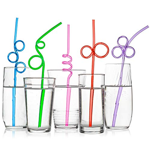 Halloween Loop 2019 (40 Premium Crazy Loop Party Drinking Straws - Recyclable, Longer & Wider - Assorted Colors Value Pack - BPA PFOA)