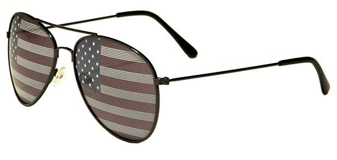 ad61da1d435e American Flag USA Classic Teardrop Metal Aviator Sunglasses (Black)