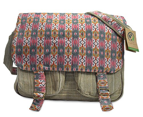 Mato Crossbody Shoulder Satchel Hemp Boho Pattern Design Laptop Messenger (Embroidered Shoulder Messenger Bag)