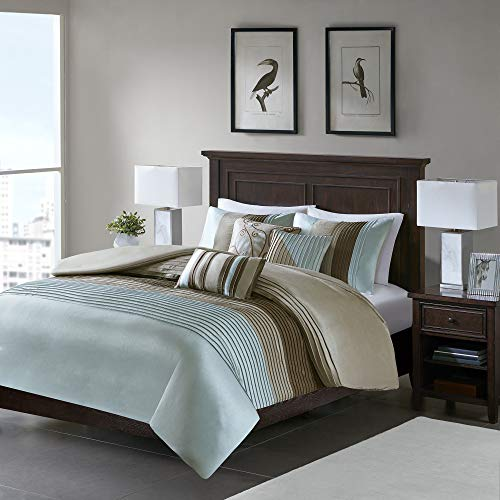 Madison Park Amherst Cal King Size-Blue, Taupe, Stripes Duvet Set - 6 Piece - Ultra Soft Microfiber Light Weight Bed Comforter Covers, King King