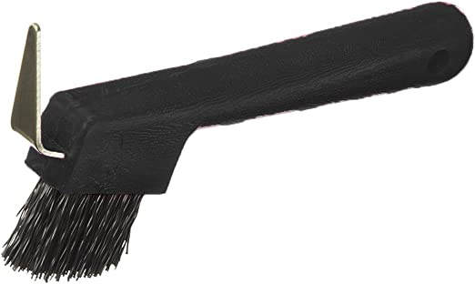 Horse hoof pick new plastic black with brush grooming care