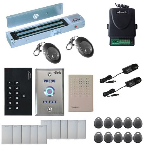 Visionis FPC-5338 One Door Access Control Outswinging Door 600lbs Maglock with VIS-3002 Indoor use only Keypad/Reader Standalone no software em card compatible 500 users Wireless Receiver Kit