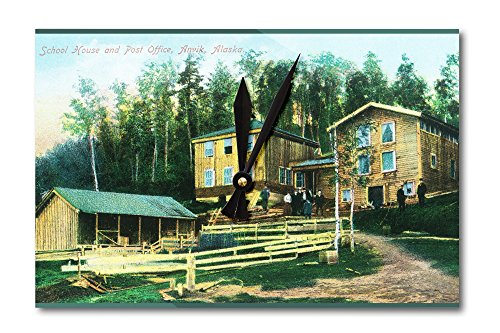 Anvik, Alaska - Exterior View of School House and Post Office (Acrylic Wall - Office Clock Post