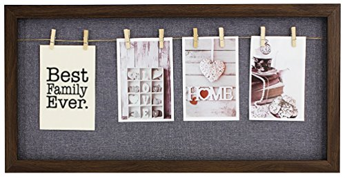 Family Portrait Frame Best Family Ever Clothesline Picture Frame Brown Wood 4-Display Photo - Card Mother Brooch