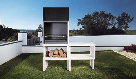 Barbacoa de Obra máximo diseño y calidad,De hormigón bruto hidrófugo blanco y negro 155 x 52 x 191 cm: Amazon.es: Hogar