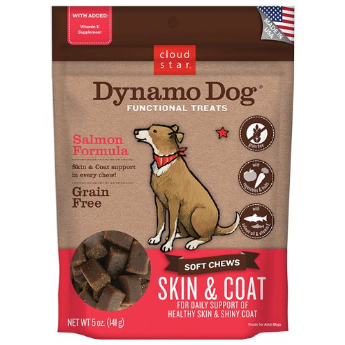 Cloud Star Dynamo Dog Skin & Coat Soft Chew Treats Salmon Formula - Grain Free - Daily Support Of Shiny Coat - 5 Oz