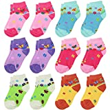 Falari 12 Pairs Girl Toddler Kids Cotton Socks (4-6 Years, Butterfly & Flowers)