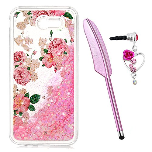 Galaxy J3 Case, J3 Case, Liquid Glitter Case Rose Flower Cover Bling Shiny Flowing Love Heart Clear Slim Protective TPU Bumper for Samsung Galaxy J3 2017 Case with Pen Plug Dust]()