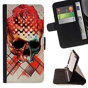 Momo Phone Case / Flip Funda de Cuero Case Cover - Rose Cráneo Muerte Ink Tattoo del rosa rojo - LG G2 D800