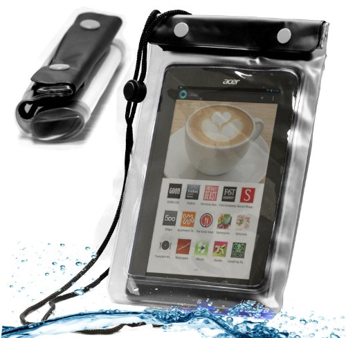 (MiTAB Black Waterproof Case / Cover For 7 Inch Tablets Including The Kobo Arc 7 / 7HD / Google Nexus 7 / Kindle Fire HD / Kindle Fire HDx)