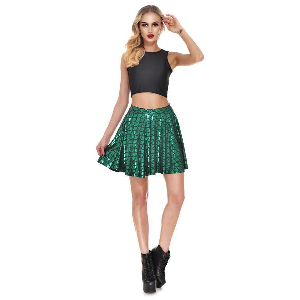 AISKLY Fish Scales Skirts Women Casual Cute Above Knee Mini Flared Skater skirt, YL-2001, Large by AISKLY (Image #4)