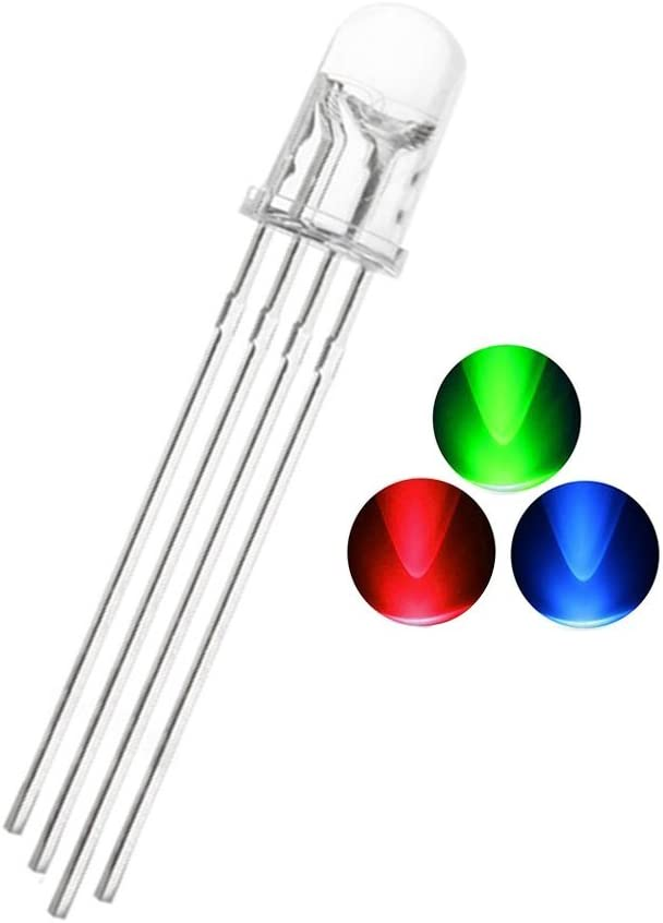 50Pcs Red Green Blue 5mm 4pin RGB Tri-Color Common Cathode LED light