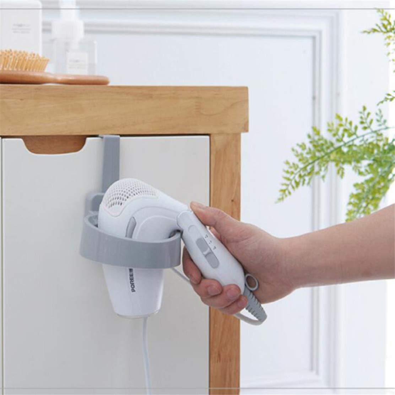 Beige YSINFOD Plastic Hair Dryer Rack Free Punch Hair Dryer Storage Shelf Bathroom Storage Holder Plastic Door Hook Hair Dryer Holder Stand