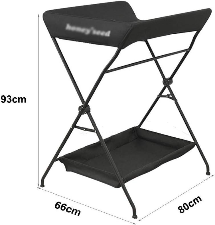 table /à langer Nouveau-N/é 0-3 Ans Station De Couches Portable pour B/éB/é B/éB/é et Enfants Noir 80x66x93cm