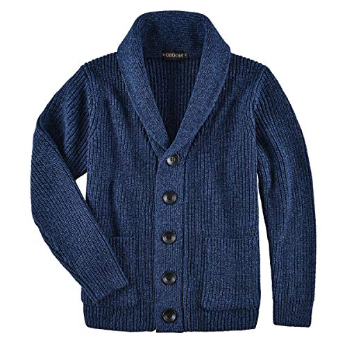 VOBOOM Men's Knitwear Button Down Shawl Collar Cardigan Sweater with Pockets (Navy Blue, XXL) (Acrylic Blend Knitwear)