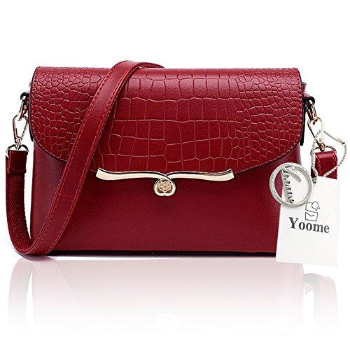 Yoome elegante bolsa de la aleta Crocodile patrón de moda bolsas de hombro para las mujeres bolsa de sobres del envoltorio - crema rojo