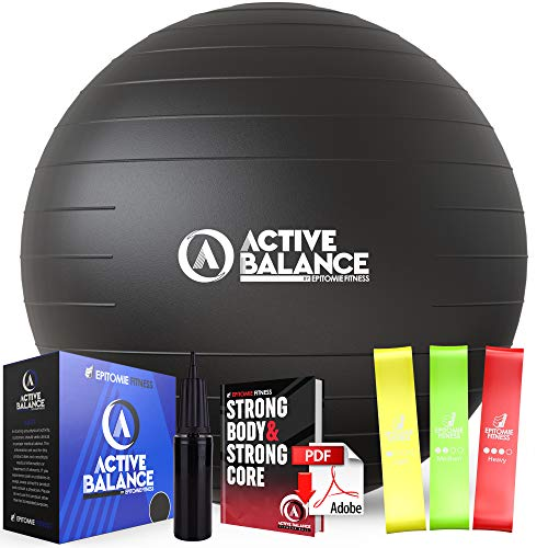 Active Balance Exercise Ball with Resistance Bands & Hand Pump – Premium Balance Ball for Fitness, Health, Relief & More…