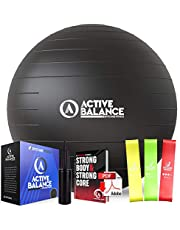 Active Balance Exercise Ball - Gym Grade Fitness Ball for Stability, Balance & Yoga - Comes With Bonus Resistance Bands and eBook includes Pump & Accessories