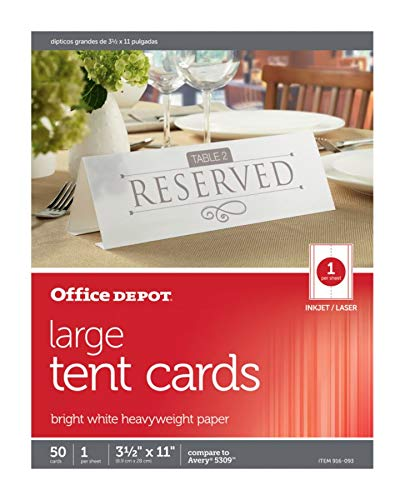Office Depot Card - Office Depot Brand Inkjet/Laser Tent Cards, Large, 3 1/2