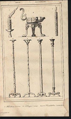 Greek Ornaments Lighting Candelabra Lamps Lantern 1835 antique engraved - Map Antique 1835