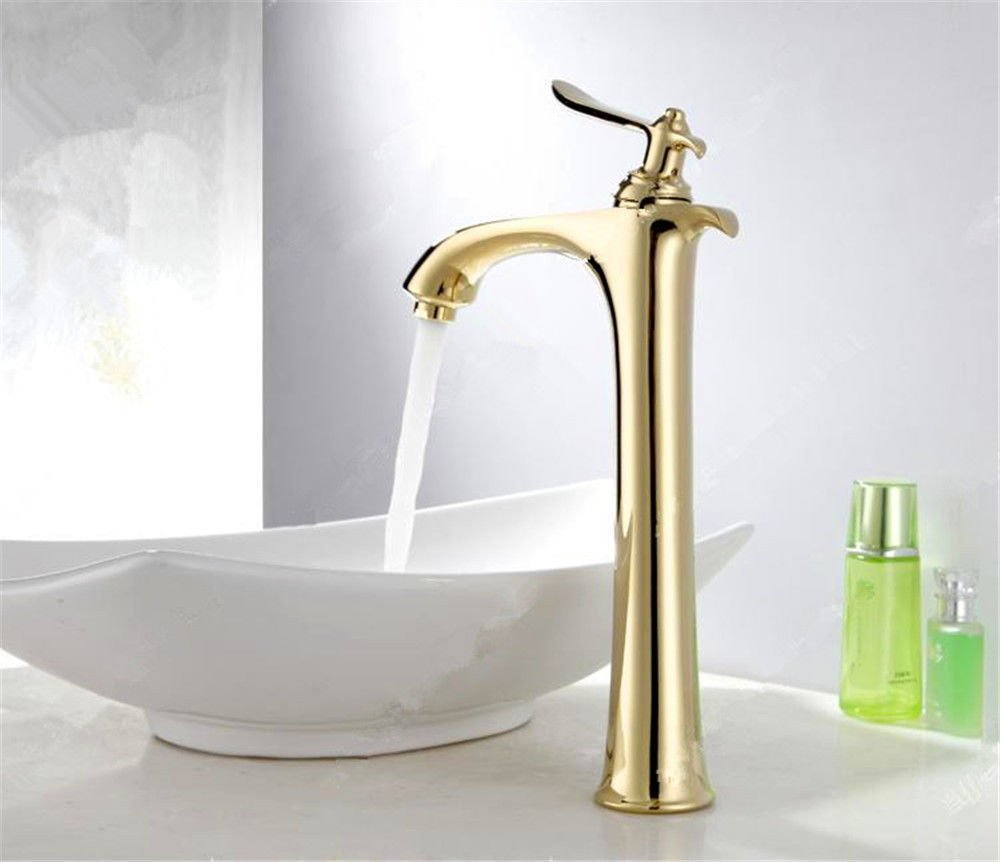 C Hlluya Professional Sink Mixer Tap Kitchen Faucet The copper basin faucet antique table basin table and cold water basin single hole golden taps, B