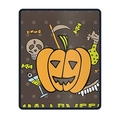 Natural Rubber Mouse Pad Printed with Halloween with Pumpkin 11.8 x 9.8 inch