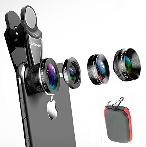 Universal 4 in 1 Phone Lens Kits,198° Fish Eye+0.63X Super Wide Angle+15X Macro +2X Telephoto,Professional HD Clip-on Lens Kits for iPhone X/8/7/6S/6s plus/6/5S,Samsung, Android Smartphones by HSSKJ