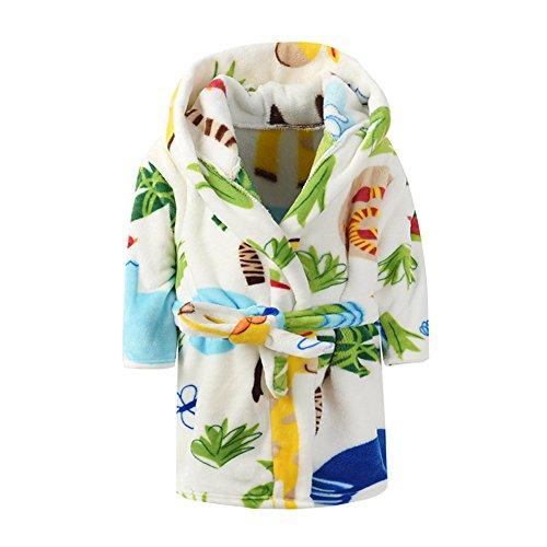 Boys & Girls Bathrobes,Plush Soft Flannel Bathrobes Hooded Sleepwear Kids
