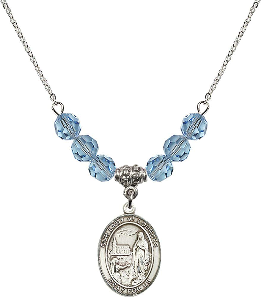 Bonyak Jewelry 18 Inch Rhodium Plated Necklace w// 6mm Blue March Birth Month Stone Beads and Our Lady of Lourdes