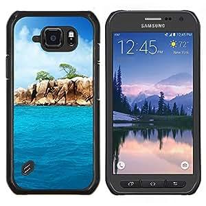 Caucho caso de Shell duro de la cubierta de accesorios de protección BY RAYDREAMMM - Samsung Galaxy S6Active Active G890A - Paradise Rocks