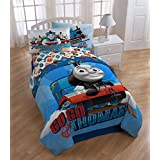 Thomas & Friends 4 Piece Twin Sized Bedding Set - Reversible Comforter & Sheet Set