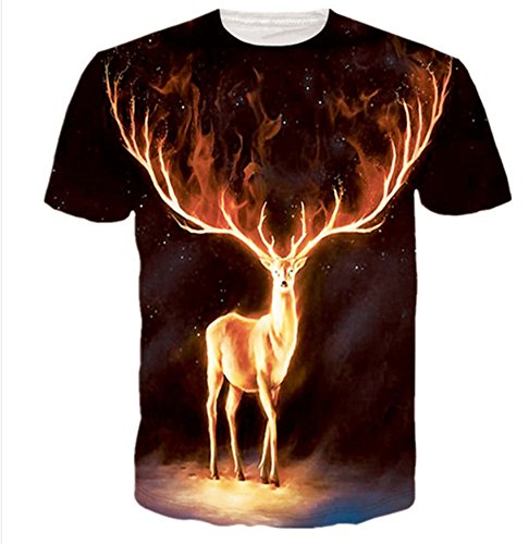 [2016 New Mens/Women deer funny animal 3D printing casual short sleeve T-shirt M3 (5XL)] (80s Costumes For Men Ideas)