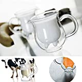utter pitcher - Creative Cup Double-layer Cow Milk Cup Glass Microwaveable Heat Milk Creamer Pitcher