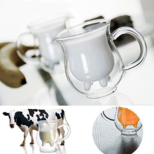 [Creative Cup Double-layer Cow Milk Cup Glass Microwaveable Heat Milk Creamer Pitcher] (Pot Of Gold Costume Homemade)