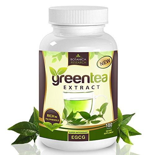 # 1 pur extrait de thé vert, avec EGCG Anti-Aging 500mg Antioxidant-: 180 capsules (75% polyphénols catéchines) - Top naturelles thermogénique Fat Burner pour hommes et femmes de Burns Fat Belly rapide - Parmi les meilleures pilules de supplément de perte