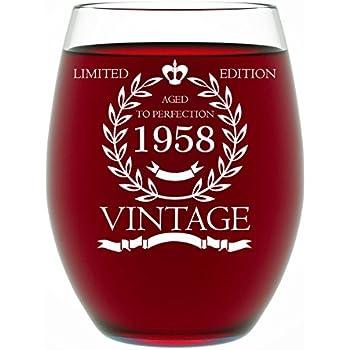 Amazon.com: Wine Glass Goblet 60th Birthday Vintage Aged