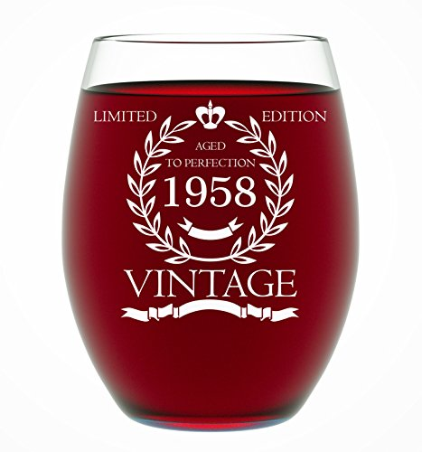 1958 60th Birthday Gifts for Women and Men Wine Glass - Funny Vintage Anniversary Gift Ideas for Him or Her, Husband or Wife Wine Glass for Mom 15 OZ - Wine Glass Birthday Gifts