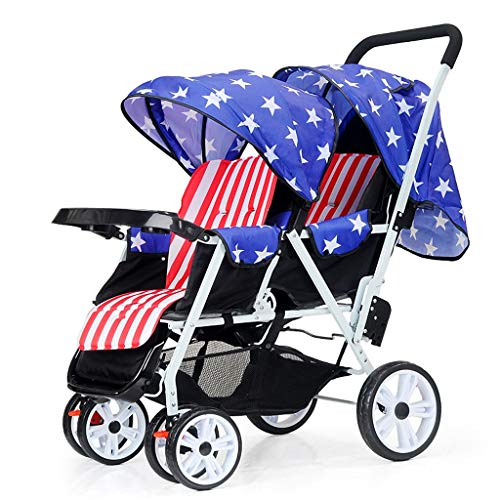Double Stroller, Twin Tandem Baby Stroller, 5 Points Safety Belts, Foldable Design for Easy Transportation (Color : Blue)