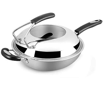 SEEKSUNGM Sartenes, Olla para Cocinar, Acero Inoxidable 304 Wok Saludable, Olla Sin Humo