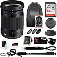 Sigma 18-300mm F3.5-6.3 Contemporary DC Macro OS HSM Lens for CANON DSLR Cameras w/ Advanced Photo & Travel Bundle