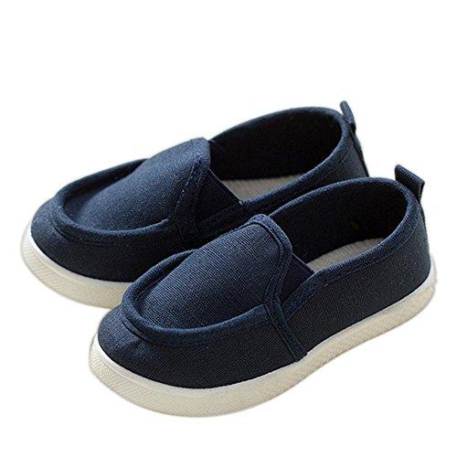 ALUK- Zapatos de bebé Deportes Casual zapatos de lona versión coreana de comodidad simple ( Color : Azul oscuro , Tamaño : 31 ) Azul oscuro