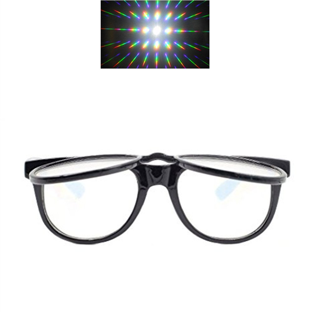 Flip Up Diffraction Prism Fireworks Rave Glasses - 1 Packs (Black Color) EAHAWORLD