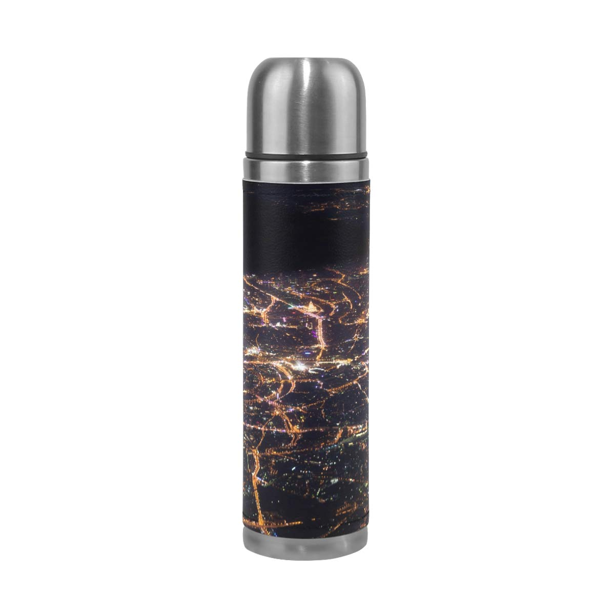City Red Window Night Square Lights 500ML Stainless Steel Double Walled vacuum insulated water bottle Travel Mug Leather Cover Thermos 17 oz