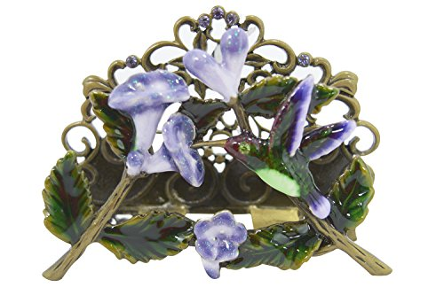 - Welforth Hummingbird and Flower Pewter Desk Business Cardholder