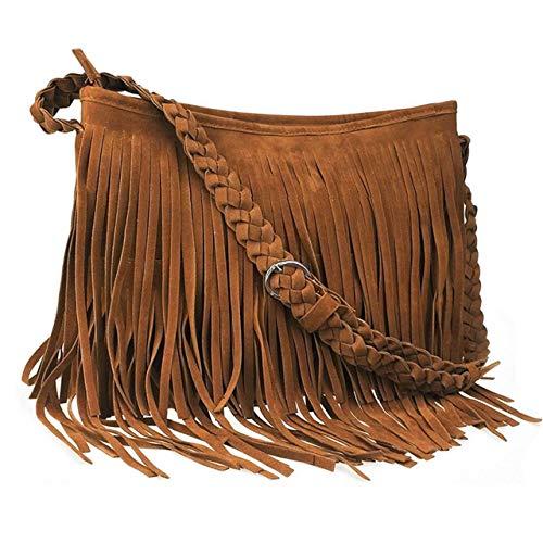 (CHIC DIARY Faux Suede Fringe Tassel Crossbody Messenger Bag Women Hobo Shoulder Bags Handbag (Brown))