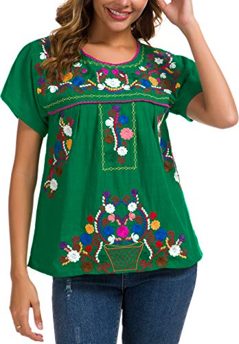 YZXDORWJ Women's Embroidered Mexican Peasant Blouse (XL, 269HL-G)