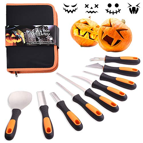 Professional Halloween Pumpkin Carving Kit, Anti-Slip Rubber Handle, 9 Piece Stainless Steel Pumpkin Carving Tools Knife Set for Halloween DIY Decoration, with Storage Bag