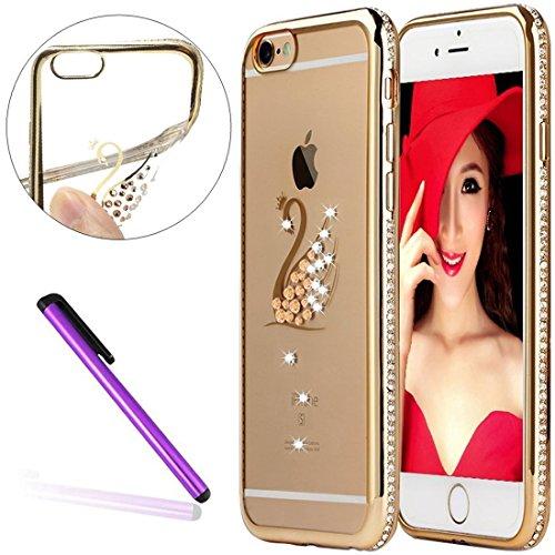 6S Case,iPhone 6 Case,EMAXELER Bling Swarovski Crystal Rhinestone Diamond Frame Cover for iPhone 6S,Plating Frame Flexible TPU Case for iPhone 6/6S(4.7